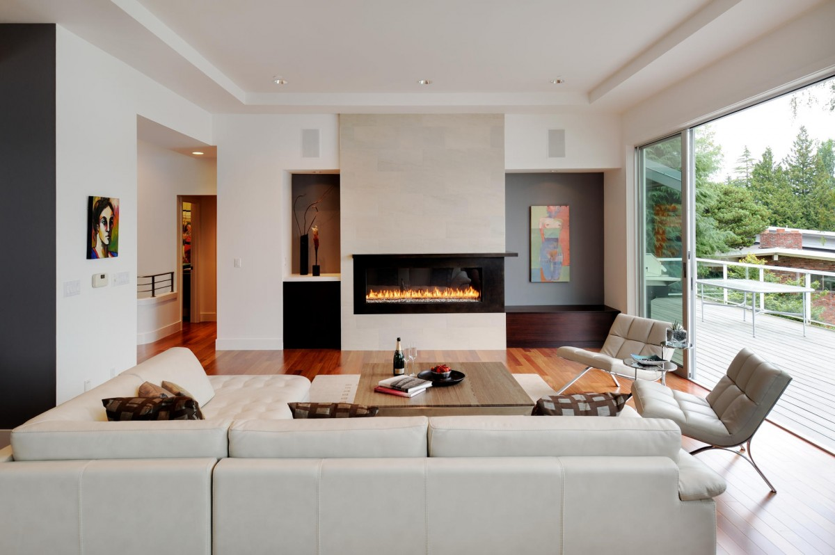 Contemporary Living Room Extension Designs  White Sofa Modern Fireplace