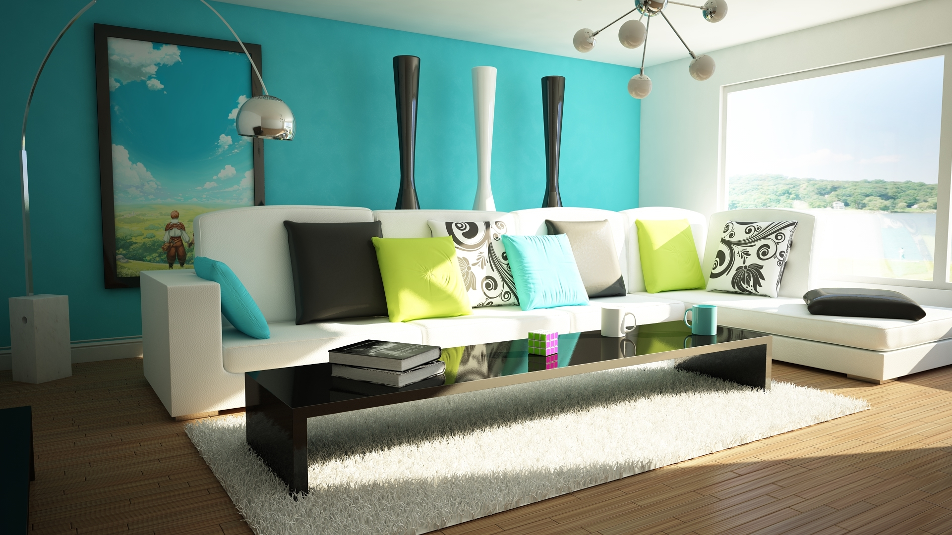 decoração ambiente azul