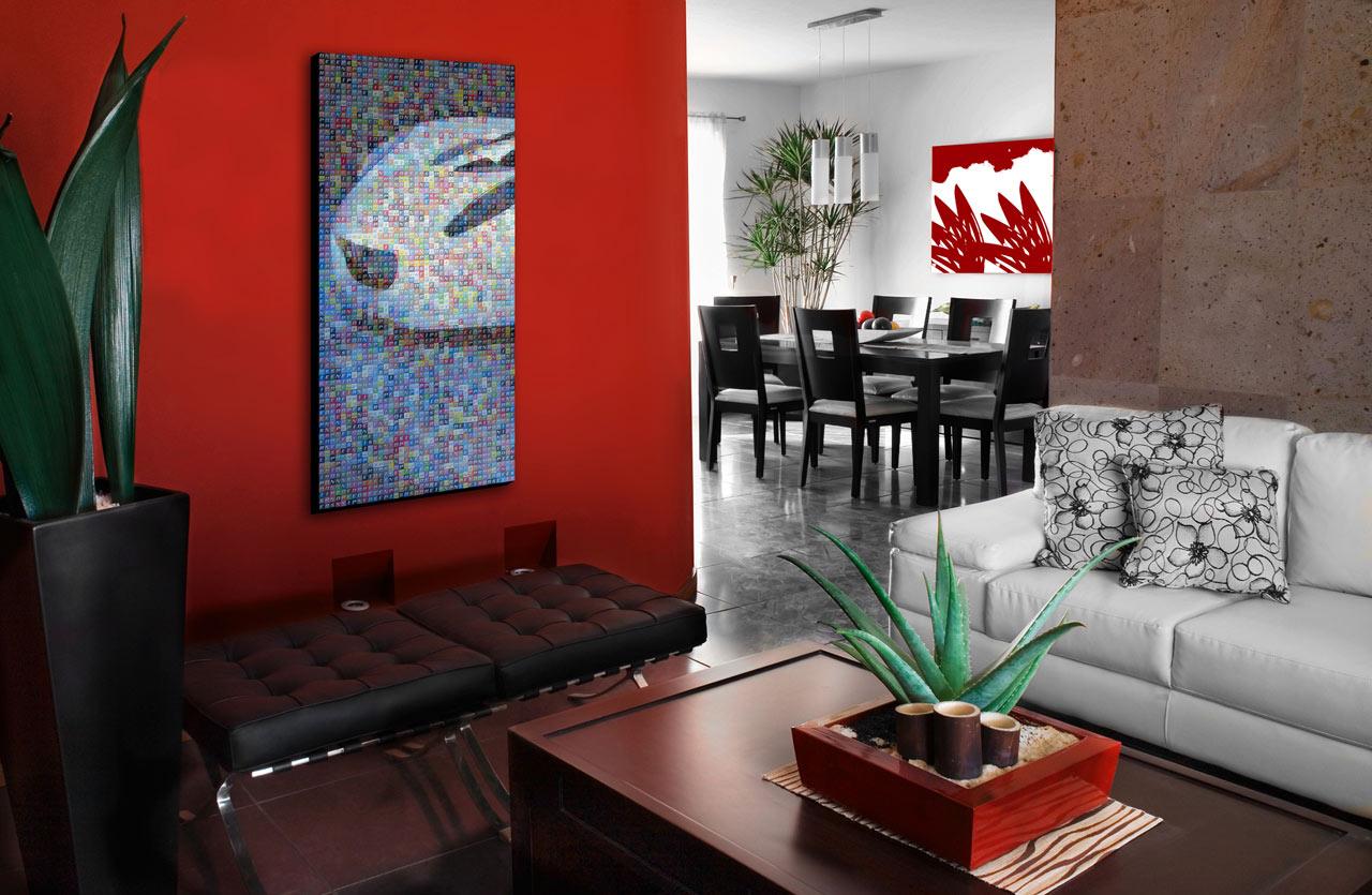 decoração sala vermelha