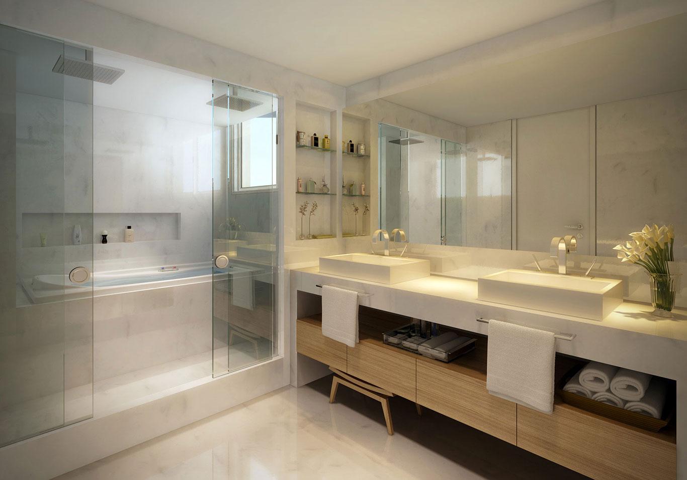 Roldana embutida: Uma ótima novidade que permite o fechamento  #2A2016 1366x956 Banheiro De Casal Grande