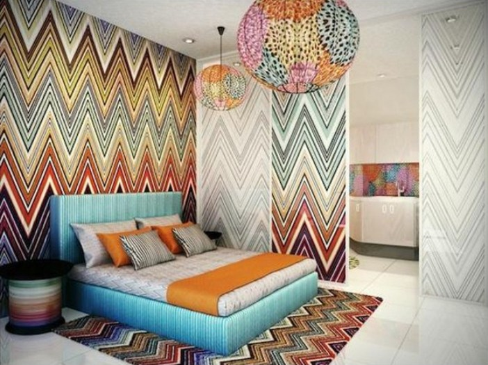 Bedroom Wall Painting Styles : Decora??o com papel de parede