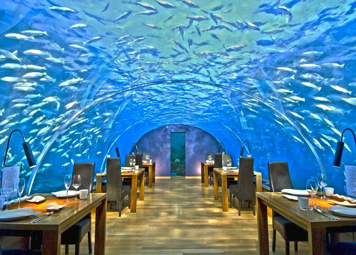 Undersea Restaurant na Ilha Rangali, Maldivas