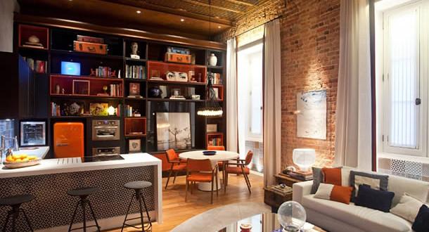 Decoração com tijolo a vista cozinha e salas