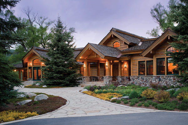 linda casa de campo com madeira e pedra