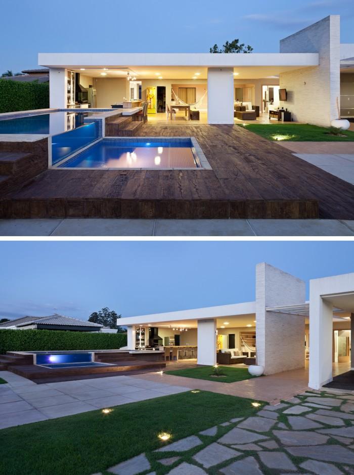 Fachadas de casa t rrea 15 modelos de modernas e bonitas for Casas modernas com piscina