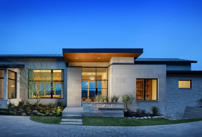 Fachadas de casa t rrea 15 modelos de modernas e bonitas for Casa minimalista 120m2