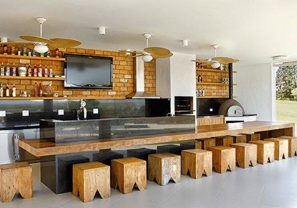 projeto bancada madeira area gourmet