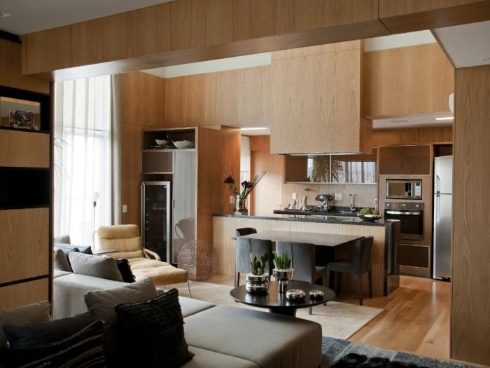 cozinha com móveis de madeira apartamento jovem