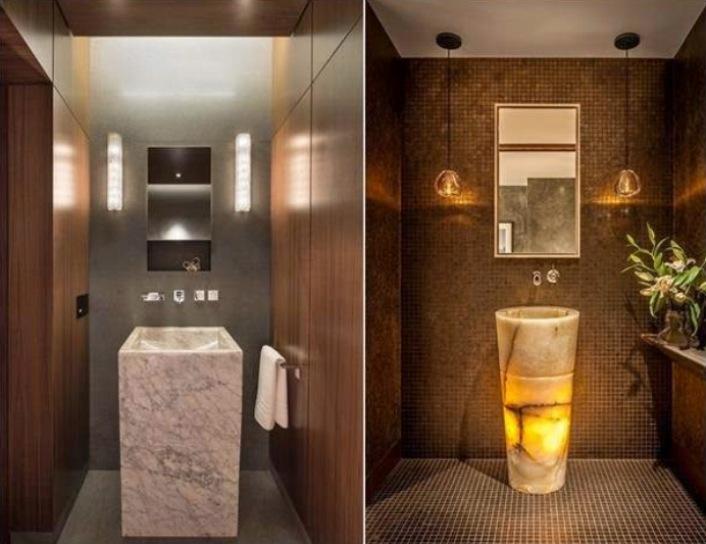 Decoração de banheiro  10 lindos modelos de cubas de piso! -> Decoracao De Banheiro Com Louca Preta