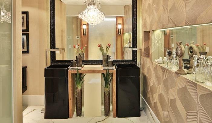 banheiro moderno cuba de piso preta