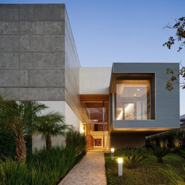 casa moderna concreto aparente madeira e vidro