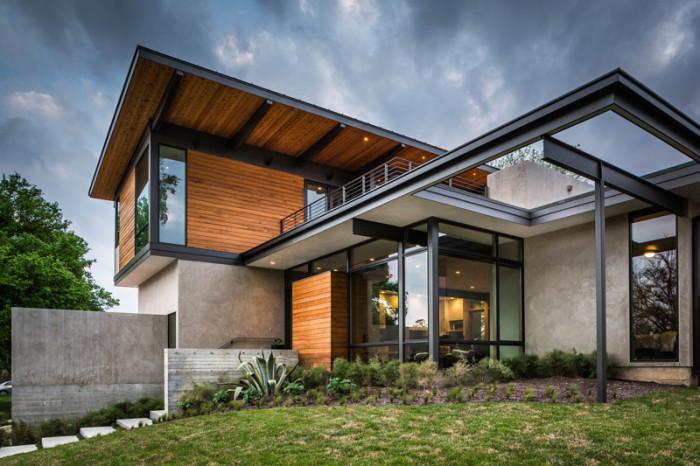 casa moderna linda em concreto vidro e madeira