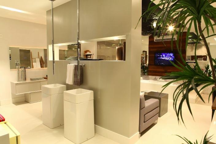 cuba banheiro moderno decoração torneira de teto