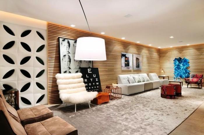 decoração parede madeira com quadros