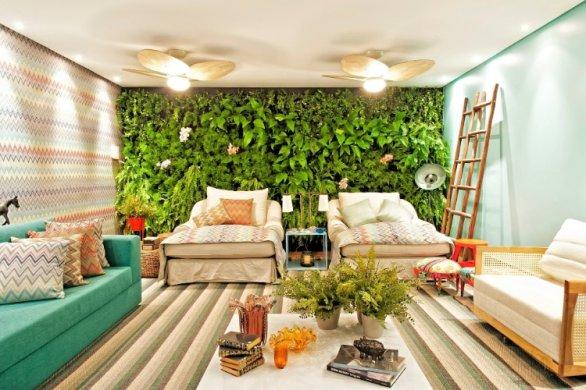 decoração parede verde chaise sofa turquesa