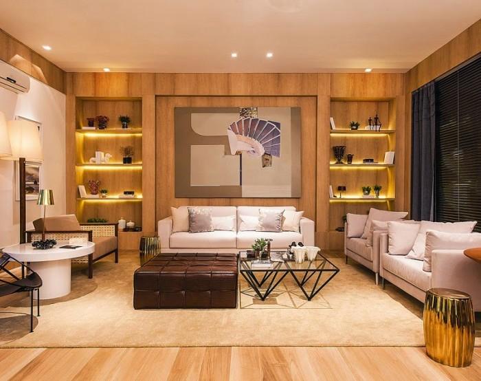 decoração sala bonita moderna com madeira