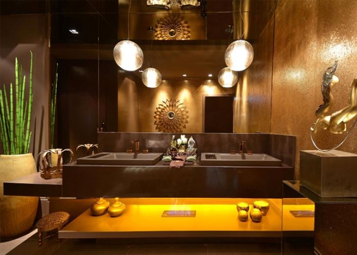 lavabo marrom decoração