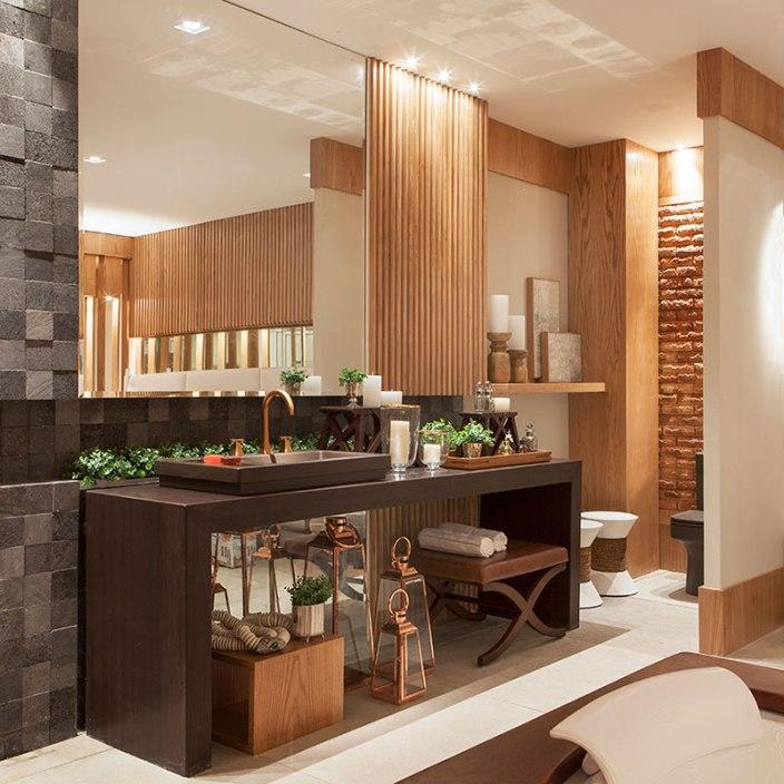 banheiro aconchegante madeira decoração - sergio palmeira