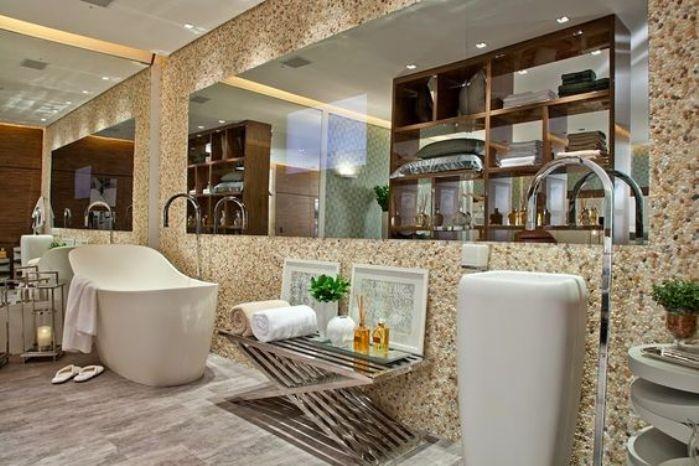 banheiro com banheiro e cuba de piso decoração