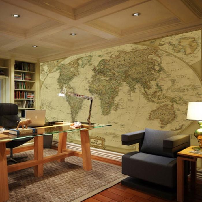 papel de paede escritório bonito mapa mundi