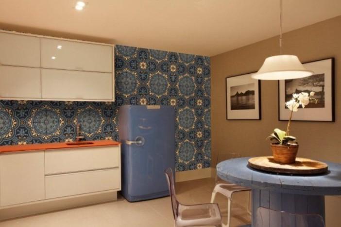 papel de parede azul sala de jantar