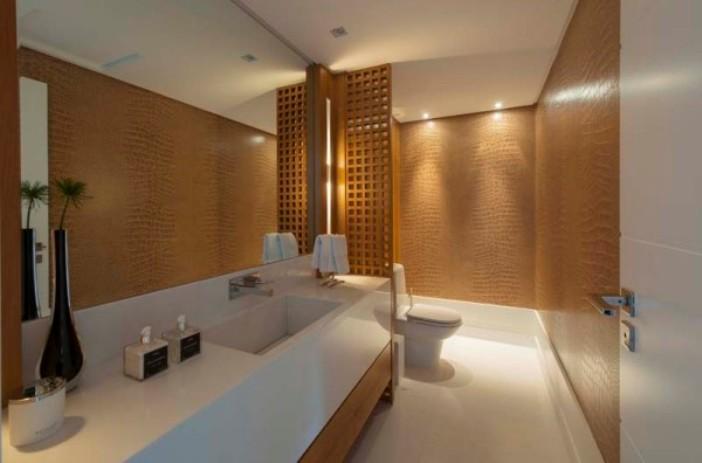 papel de parede lavabo bonito - estampa croco