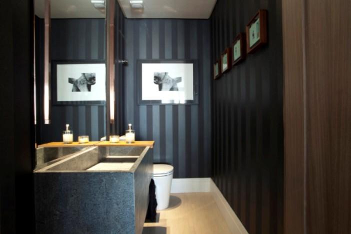 papel de parede lavabo preto listrado
