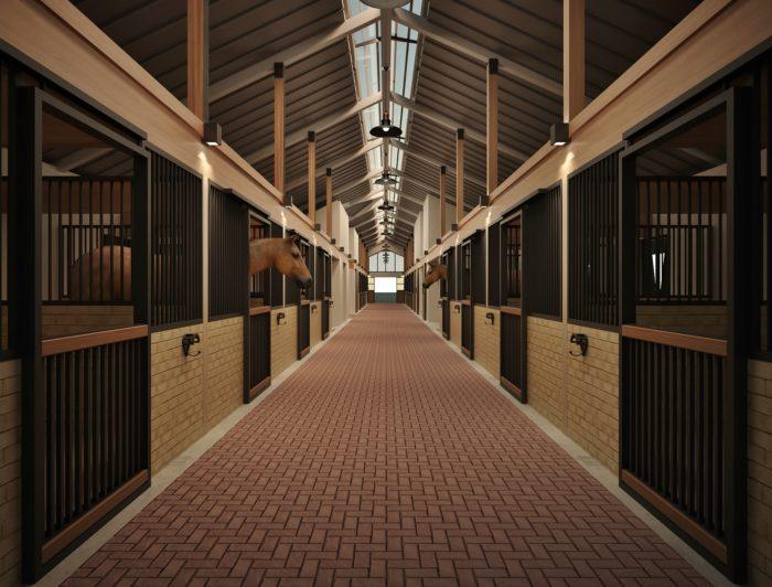 Baias para cavalos - Corredor interno cocheira